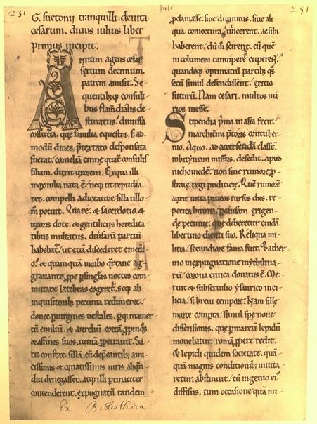 Титульный лист сочинения «О жизни Цезарей» (рукопись XII века).