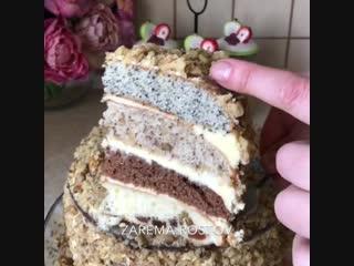"""Торт """"дамский каприз"""" (ингредиенты указаны в описании видео)"""