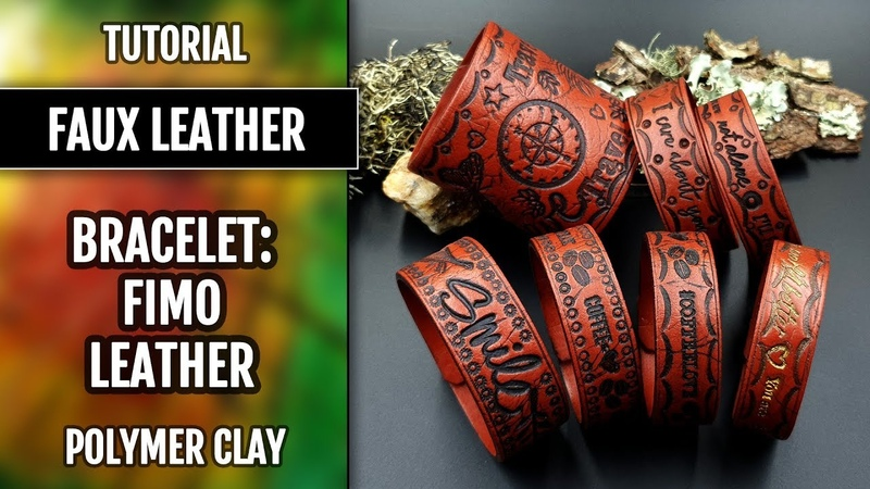How to make: Faux Leather Bracelet from polymer clay Fimo Effect Leather.