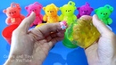 4 Colored slime with toys Learning 9 colors with 6 colored bears anti stress