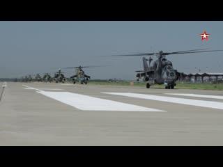 Ударные вертолеты ЮВО #Ми28 Н, #Ка52 и #Ми35 М отработали огневую поддержку штурмовых отрядов спецназа.