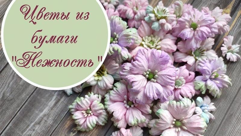 Цветы Нежность из бумаги для скрапбукинга / paper scrapbooking flowers tutorial