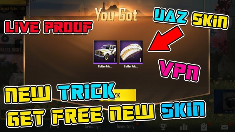 PUBG MOBILE NEW TRICK 3 MAY GET FREE UAZ SKIN AND PERMANENT PARACHUT FOR FREE GIVEAWAY