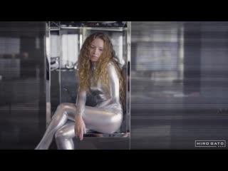 Blonde Angel Sexy Kira in Shiny Metallic Lycra Zentai Catsuit