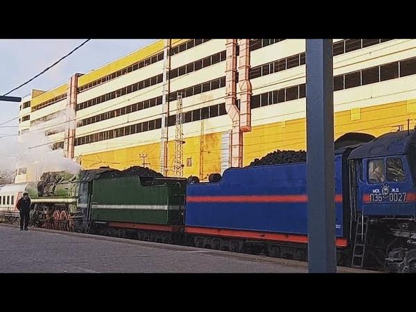 Паровоз П36-0120 зелёный и паровоз П36-0027 синий на станции ТУШИНСКАЯ 2-й Диаметр D2