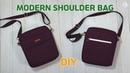 DIY MODERN SHOULDER BAG/ Rectangle bag with front pocket and zipper pocket/sewing tutorial