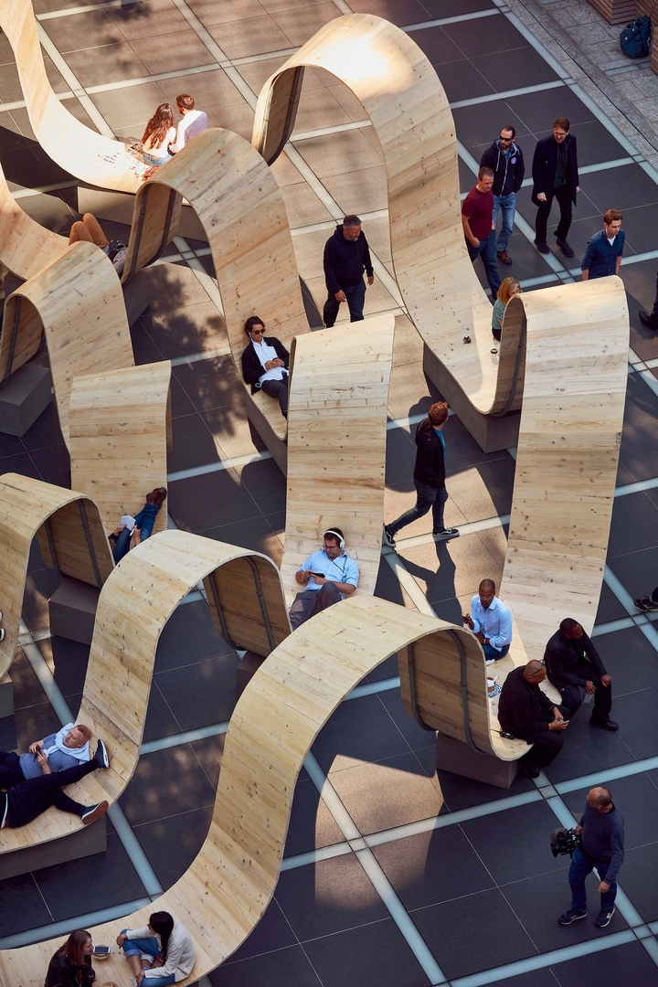 Upcycled Scaffolding Planks Form Functional Ribbons of Steel and Wood in London's Broadgate Neighborhood