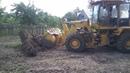 Выкорчевка пня дерева универсальным погрузчиком Амкодор 342C4