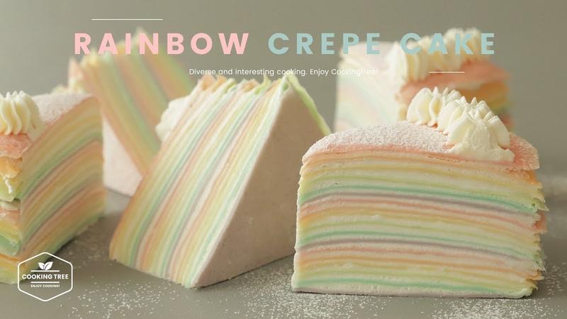 파스텔🍭 레인보우 크레이프 케이크 만들기 : Pastel Rainbow Crepe Cake Recipe : パステルレインボークレープケーキ | Cooking tree