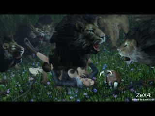 Lara Lions Forest (Tomb Raider sex)