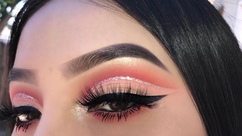 Peachy Red Glitter Cut Crease Jocy Reyes