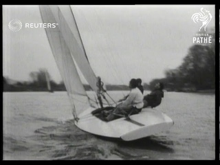 British citizens sail on the River Thames and go to the seaside (1948)