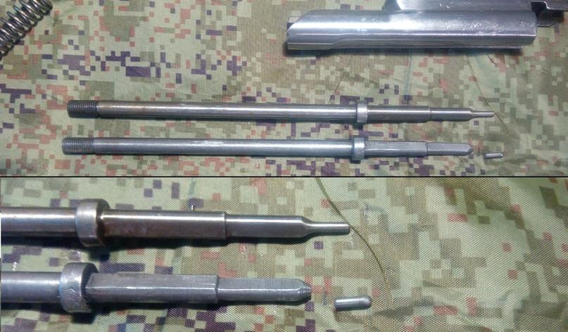 Вот так выглядит обломленный ударник. Даже винтовки Мосина ломаются от нагрузок при стрельбе. Замена этой детали занимает от силы 2-3 минуты. Нужна только отвёртка.