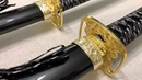 Набор самурайских мечей черные ножны золотая цуба, Set of Samurai swords D-50024-BK-YL-KA-WA