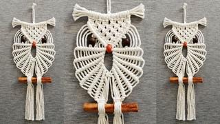 DIY como hacer un BÚHO en MACRAME   DIY Macrame Owl Wall Hanging Tutorial
