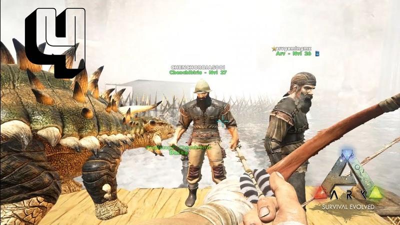 ¡Intentamos domesticar un dinosaurio cabezón!    Ark Survival Evolved 4