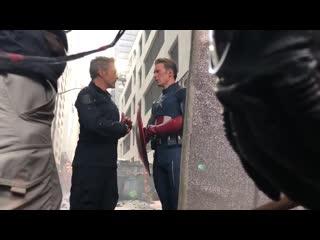 BTS of Tony, Cap and Ant Man in NY…#AvengersAssemble