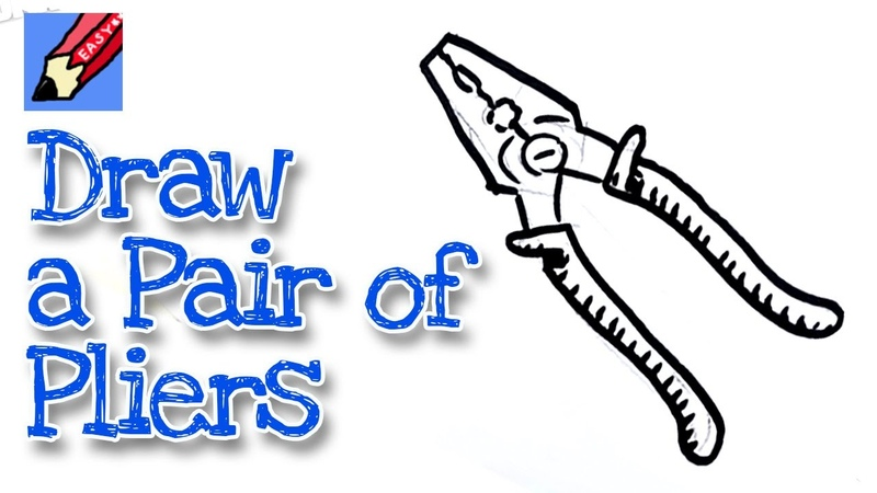 How to draw a pair of pliers real easy for kids and beginners