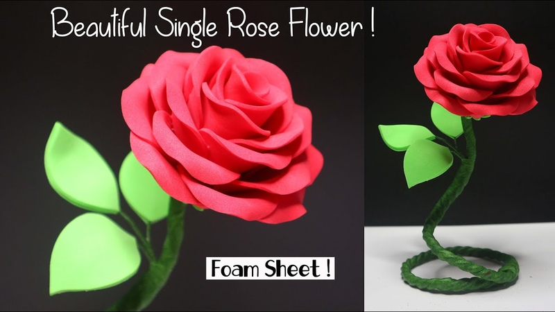 Rose foam Flower Tutorial | Standing Flower | Bunga mawar busa hati