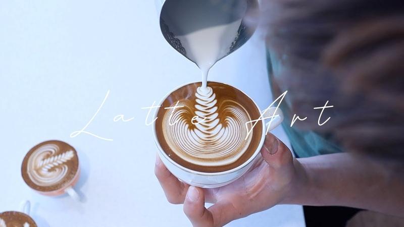 라떼아트 기초부터 심화까지 연습 영상 모음 로제타 하트 튤립 우유스티밍 cafe vlog 개인카페 브이로그