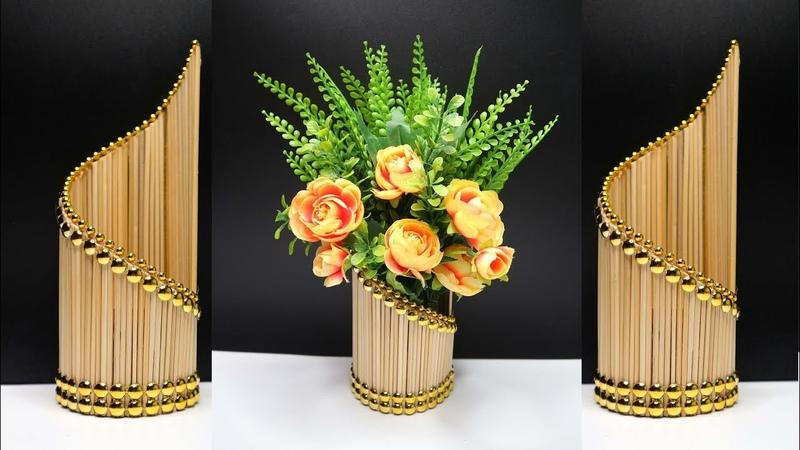 Ide Kreatif Vas bunga Cantik Dari Tusuk sate !
