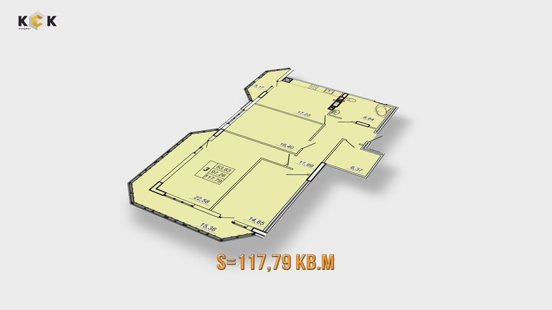 ЖК НАУМОВА 3. Планировка 3-комнатной квартиры S=117.79 кв.м