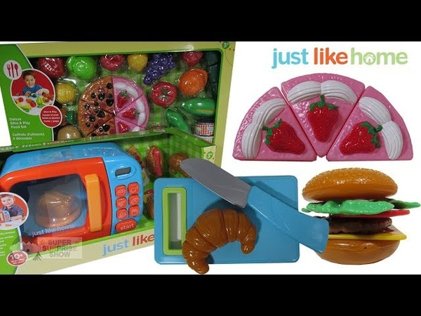 Cooking Fun with Electronic Microwave Deluxe Slice Play Food Set with Fruits, Veggies