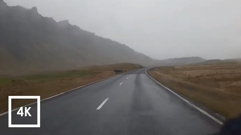 Relaxing Drive in the Rain Sounds in Iceland, Binaural Ambience for Sleep (Vik to Hof) 4k ASMR