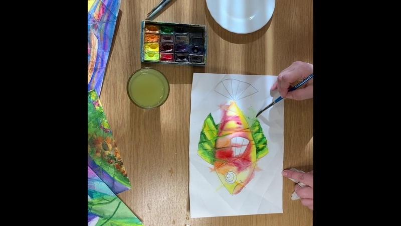 Рисуем акварелью на мятой бумаге