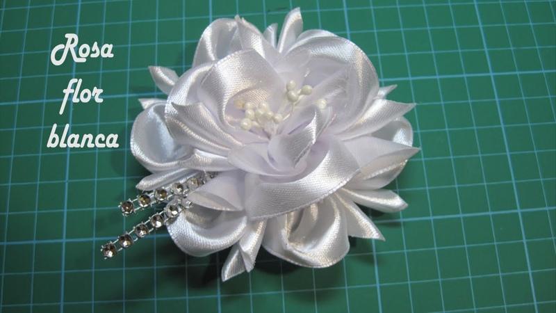 ❀ DIY Rosa FLOR blanca ❀ Pink white FLOWER ❀ زهرة بيضاء وردي ❀ Розовый белый цветок ❀