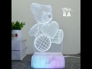 3D светильник в виде единорога с сенсорным управлением для