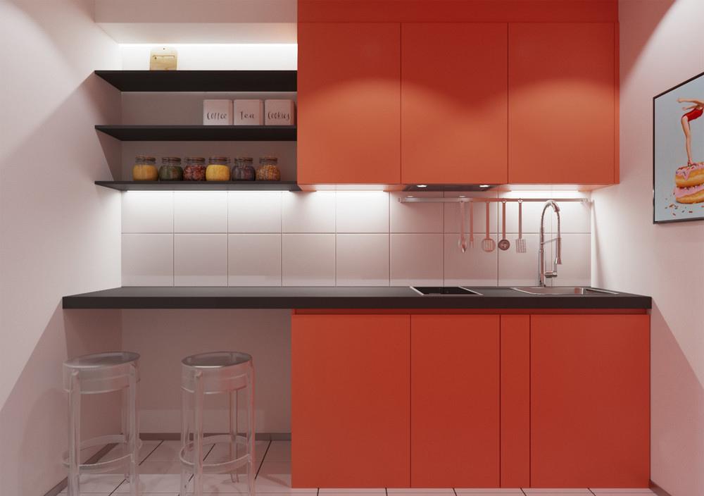 Проект квартиры 28 м с узкой и вытянутой комнатой.