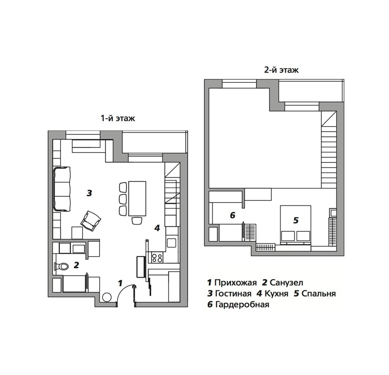 Московская квартира-галерея 50 м со спальней на втором уровне.