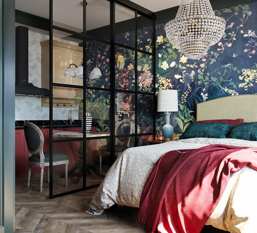 Яркий проект комнаты в квартире-студии прямоугольной планировки.