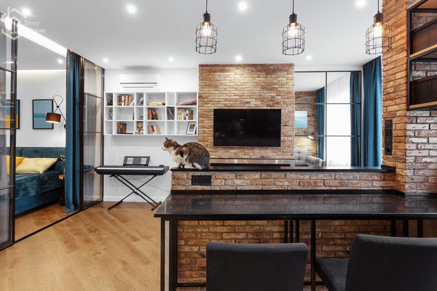 Интерьер квартиры открытой планировки 47 кв.