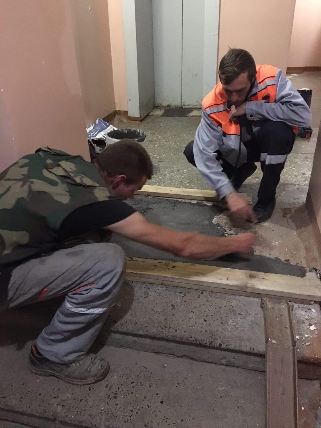 Выполнен ремонт пола улица Упита дом 16А
