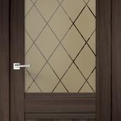 Дверное полотно ALTO 2V Остекленное   Орех каштан