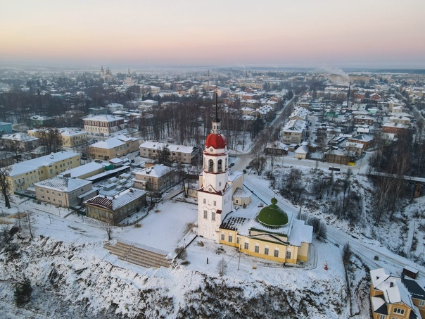 Тотьма Вологодской области с высоты птичего полёта неделю назад. Фото: Александр Усольцев.
