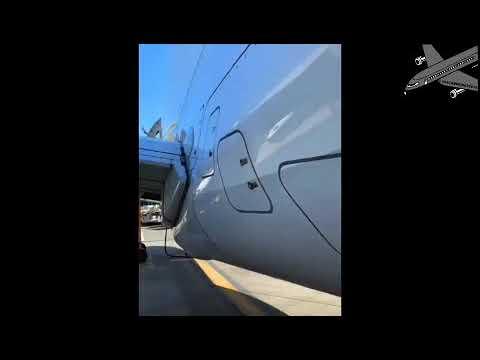 Оторвавшиеся тележки для багажа протаранили и сдвинули с места самолет