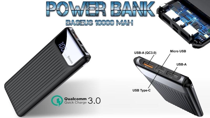 Обзор Power Bank BASEUS 10000 mAh Quick Charge Qualcomm 3 0 LED экран Type C Повербанк