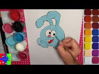 Крош из мультика Смешарики. Простые рисунки для детей.