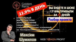 Пассивный доход 1 700% за 75 дней это 22.9% в день в проекте Golden Ratio Максим Шумилов 13 01 2020
