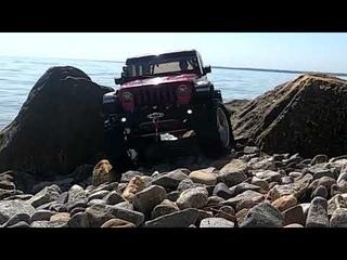 Rc Car Wrangler JL on the beach crawling #scx10III