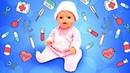 Куклы Беби Бон Эмили иигра больница для малышей— Моем игрушки, лечим иубаюкиваем Baby Born