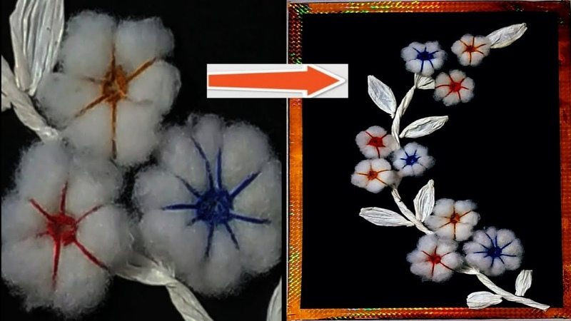 DIY craft II How to make a flower using waste cotton easy step by step II waste material craft